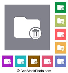 Delete directory square flat icons