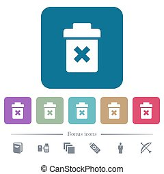 Delete white flat icons on color rounded square backgrounds. 6 bonus icons included
