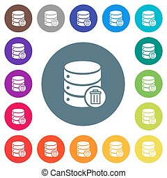 Delete from database flat white icons on round color backgrounds. 17 background color variations are included.