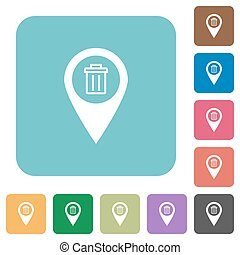 Delete GPS map location rounded square flat icons
