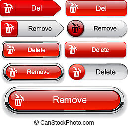 Delete high-detailed web button collection. - Remove red ...