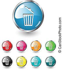 Delete icons vector set - Delete icon, button, multicolored ...