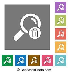 Delete search square flat icons