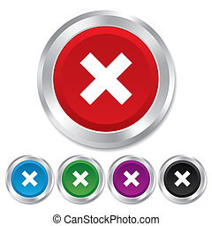 Delete sign icon. Remove button. Round metallic buttons.
