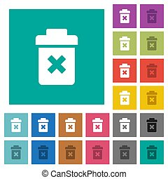 Delete square flat multi colored icons - Delete multi...