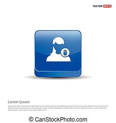 Delete user icon. - 3d Blue Button