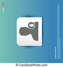 Delete user icon. - Blue Sticker button