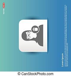 Delete user icon. - Blue Sticker button