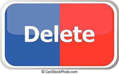 delete word on vector web button icon isolated on white. flat icon vector illustration.
