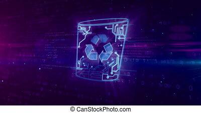 Deleting data with computer trash - Computer trash symbol on...