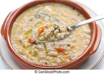 deletreado, farro, sopa, cui, italiano