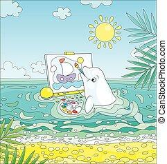 delfín, blanco, imagen, dibujo, sailer