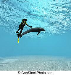 delfín, buzo