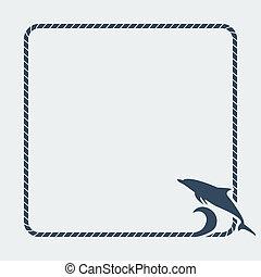 delfín, marina, plano de fondo