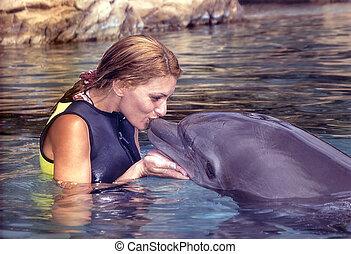 delfín, nariz, botella