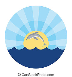 delfín, saltar, afuera, de, el, agua
