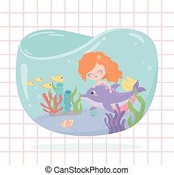 delfin, havfrue, under, fisk, cartoon, koral, baggrund, hav