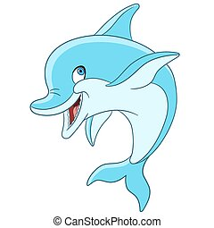 delfin, karikatur, glücklich