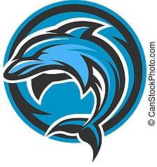 delfin, sport, logo, emblem.