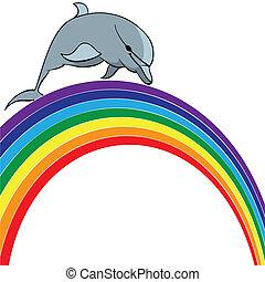 delfin, szivárvány