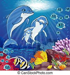 delfines, en, el, fondo, de, el, mar