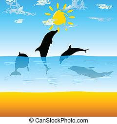 delfini, gioco, in, il, mare