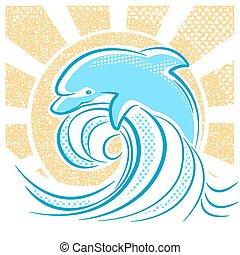 delfino, illustrazione, saltare, acqua, onde