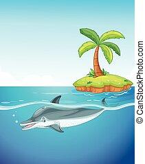 delfino, nuoto, sotto, il, mare