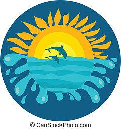 delfiny, słoneczny, dwa, tło, ocean