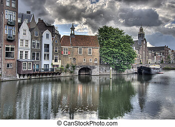 Delfshaven, Holland - Canal in Delfshaven in old part of...