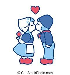 delft, 青, 偶力がキスする