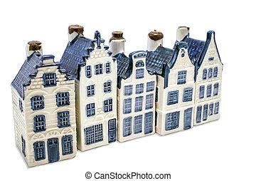 delft, azul, cinco, casas