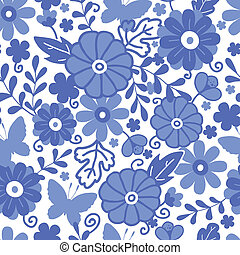 Delft blue Dutch flowers seamless pattern background -...