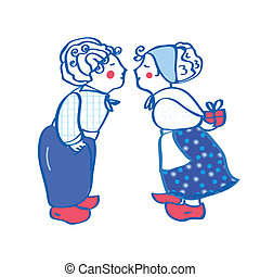 Delft blue kissing pair card with present