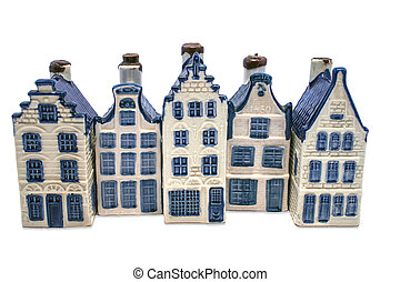 delft, casas, azul, fila