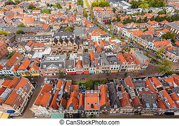 delft, ciudad, histórico, vista aérea