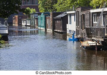 delft, países bajos, calle, casas flotantes