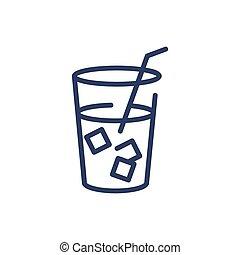 delgado, hielo, línea, té, icono