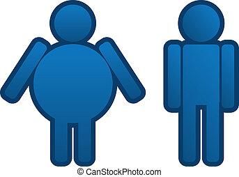 delgado, hombre gordo