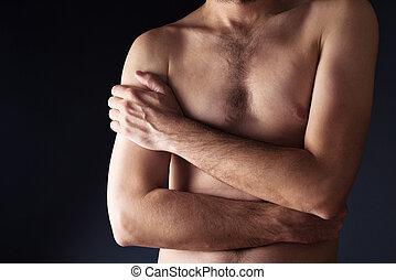 delgado, hombre, torso