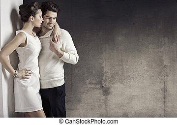 delgado, mujer, con, ella, muscular, marido
