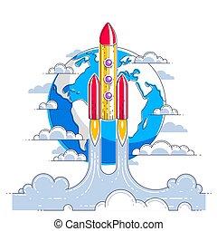 delgado, space., planeta, impresionante, white., lanzamiento, science., 3d, undiscovered, tierra, aislado, vector, encima, línea, cohete, explorar, espacio, universo, ilustración