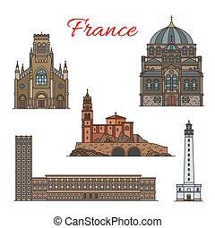 delgado, viaje, francés, arquitectura, señal, línea, icono