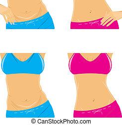 delgado, vientre, cintura