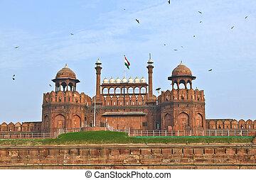 delhi, 17ème, construit, siècle, delhi, il, inde, shahjahan,...