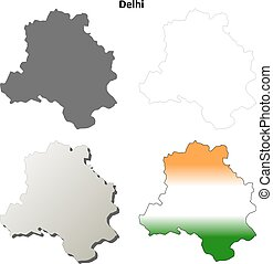 Delhi blank detailed outline map set