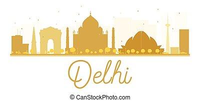 Delhi City skyline golden silhouette.