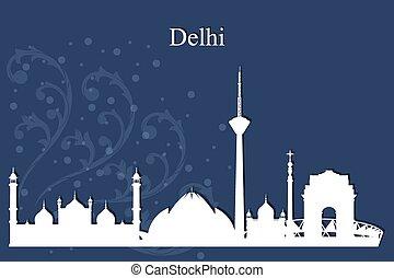 Delhi city skyline silhouette on blue background