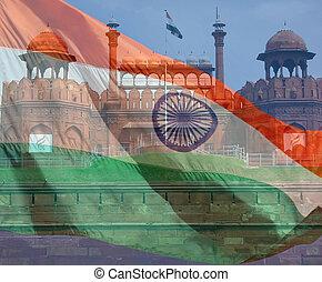 delhi., composite, author., inde, deux, photos, drapeau, pris, nouveau, fort rouge