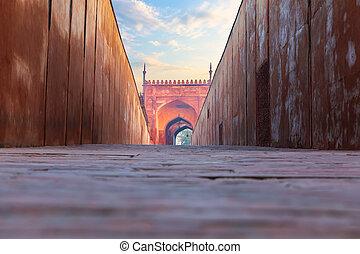 delhi, fort, agra, inde, rouges, portail